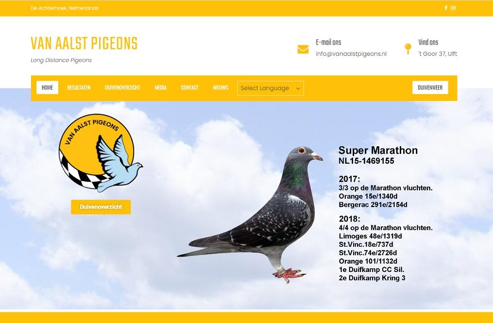 nieuwe website vanaalstpigeons.nl